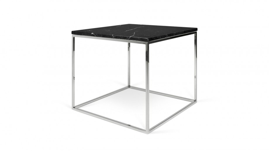 Table basse 50cm en marbre noir piètement chromé - Collection Gleam - Temahome