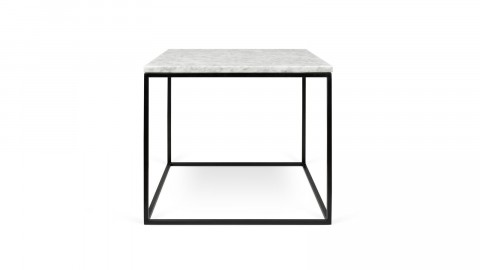 Table basse 50cm en marbre blanc piètement en métal noir - Collection Gleam - Temahome