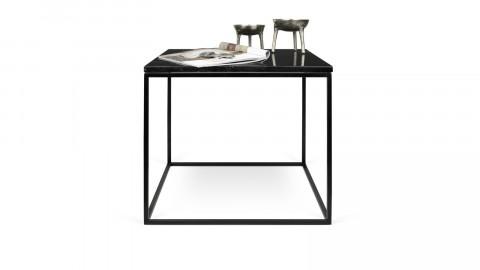 Table basse 50cm en marbre noir piètement en métal noir - Collection Gleam - Temahome