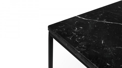 Table basse 50cm en marbre noir piètement en métal noir - Collection Gleam - Temahome