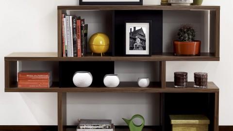 Etagère S en contreplaqué foncé et noir - Collection London - Temahome