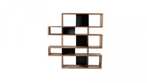 Etagère M en bois foncé et noir - Collection London - Temahome