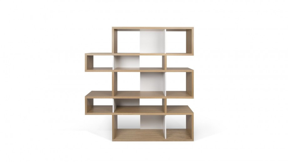 Etagère M en contreplaqué naturel et blanc - Collection London - Temahome