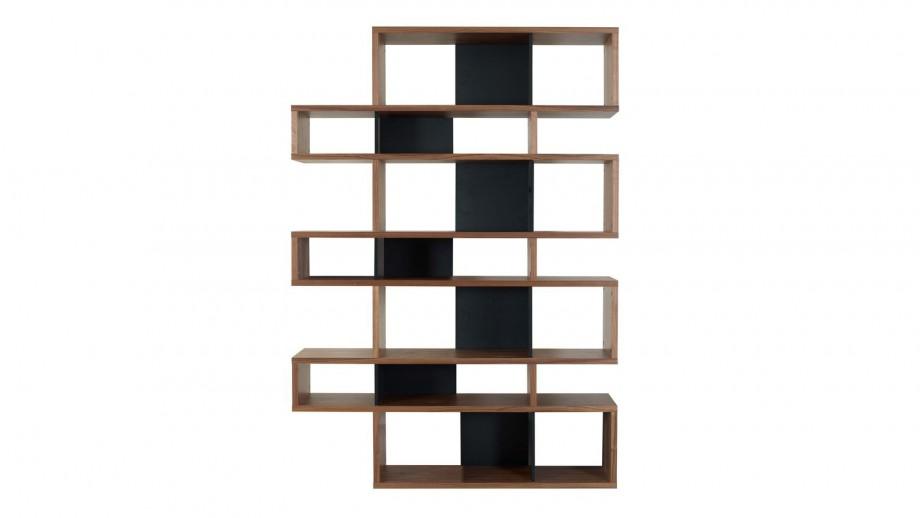 Etagère L en contreplaqué foncé et noir - Collection London - Temahome