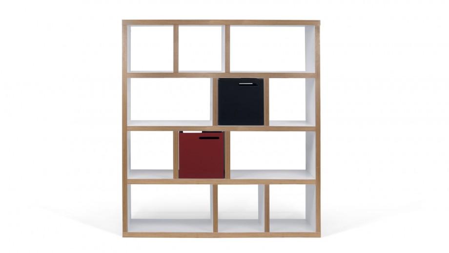 Etagère 4 niveaux 150cm en contreplaqué naturel et blanc - Collection Berlin - Temahome