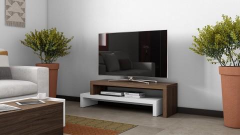 Meuble TV modulable en bois effet foncé et blanc - Collection Cliff - Temahome