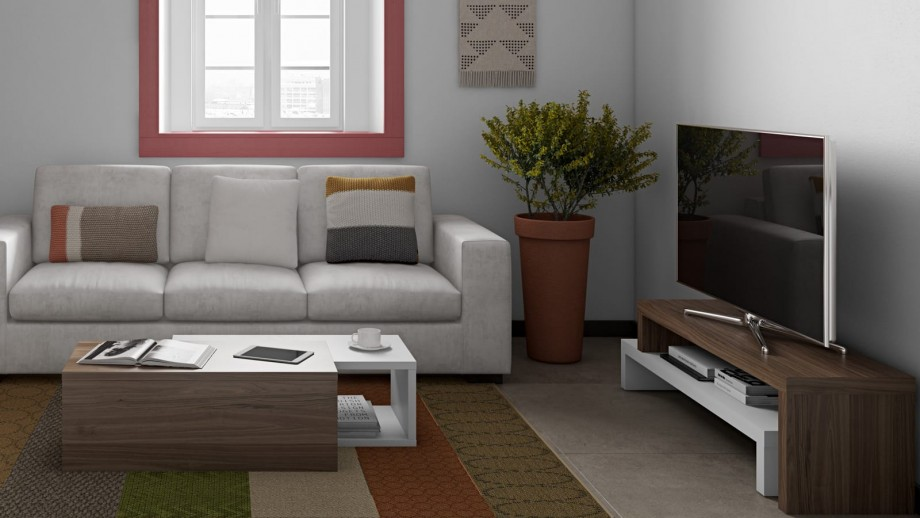Meuble TV modulable en contreplaqué foncé et blanc - Collection Cliff - Temahome