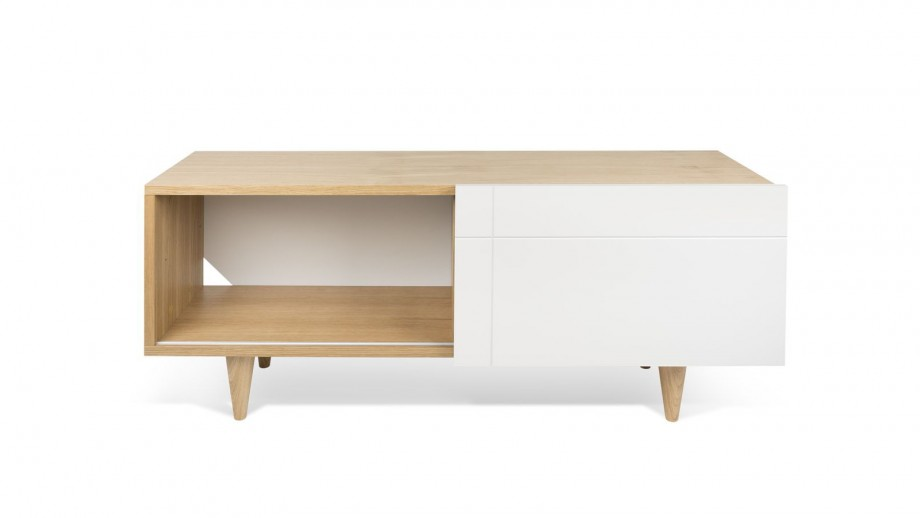 Meuble TV 2 niches porte coulissante en contreplaqué naturel et blanc - Collection Cruz - Temahome
