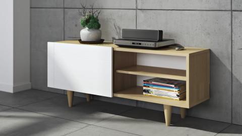Meuble TV 2 niches porte coulissante en contreplaqué naturel et blanc - Collection Cruz - Temahome