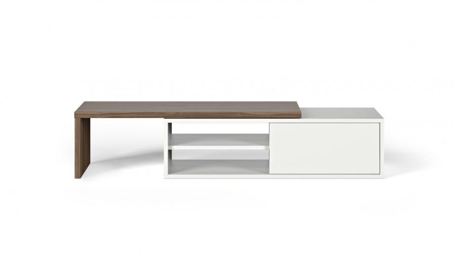 Meuble TV modulable 2 étagères en contreplaqué foncé et blanc - Collection Move - Temahome