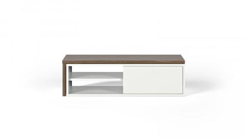 Meuble TV modulable 2 étagères en bois foncé et blanc - Collection Move - Temahome