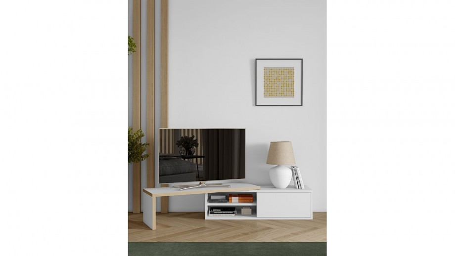 Meuble TV modulable 2 étagères en contreplaqué naturel et blanc - Collection Move - Temahome
