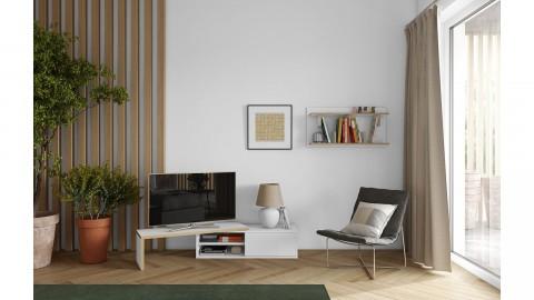 Meuble TV modulable 2 étagères en bois effet naturel et blanc - Collection Move - Temahome
