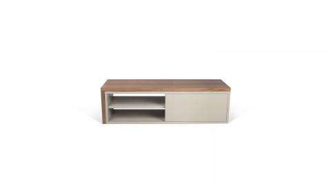 Meuble TV modulable 2 étagères en bois foncé et gris - Collection Move - Temahome