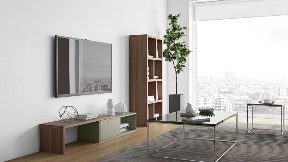 Meuble TV modulable 2 étagères en contreplaqué foncé et gris - Collection Move - Temahome