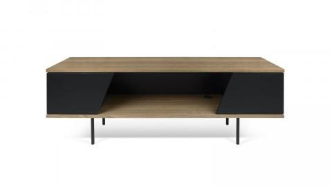 Meuble TV 2 portes 1 niche de rangement en bois foncé et noir - Collection Dixie - Temahome