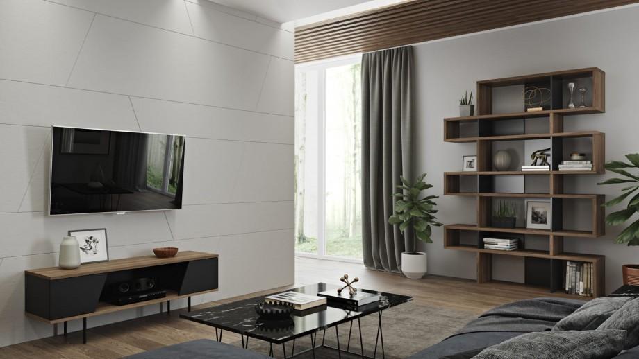 Meuble TV 2 portes 1 niche de rangement en contreplaqué foncé et noir - Collection Dixie - Temahome