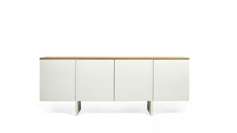 Buffet bas 4 portes en contreplaqué naturel et blanc - Collection Edge - Temahome