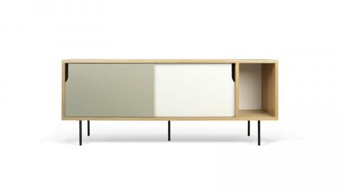 Buffet bas 165cm en bois 2 portes coulissantes gris et blanc piètement métal - Collection Dann - Temahome
