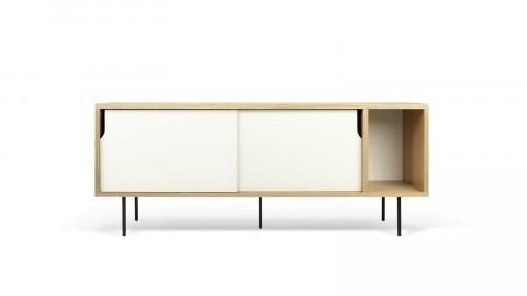 Buffet bas 165cm en bois 2 portes coulissantes blanches piètement métal - Collection Dann - Temahome