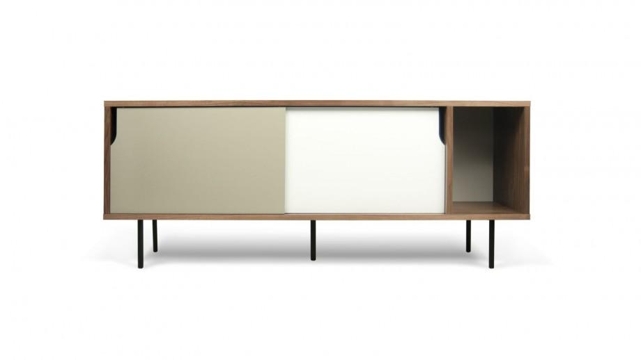 Buffet bas 165cm en contreplaqué foncé 2 portes coulissantes gris et blanc piètement métal - Collection Dann - Temahome