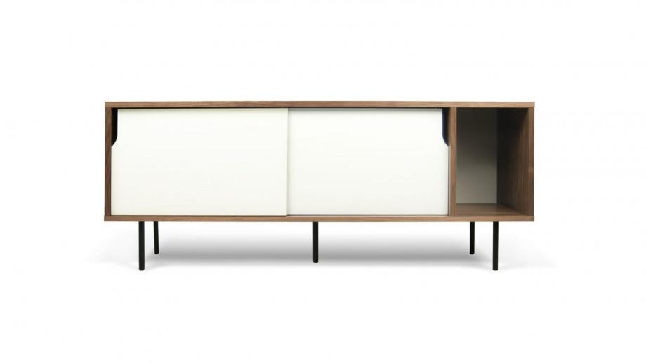 Buffet bas 165cm en contreplaqué foncé 2 portes coulissantes blanches piètement en métal - Collection Dann - Temahome