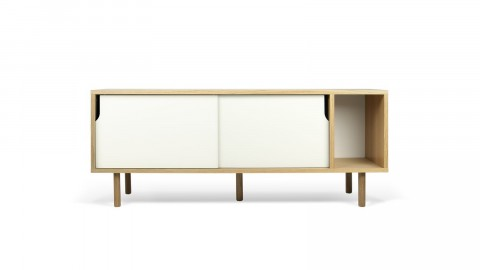 Buffet bas 165cm en bois 2 portes coulissantes blanches piètement bois - Collection Dann - Temahome