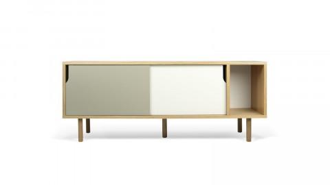 Buffet bas 165cm en bois 2 portes coulissantes gris et blanc piètement bois - Collection Dann - Temahome