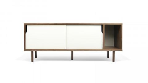 Buffet bas 165cm en bois foncé 2 portes coulissantes blanches - Collection Dann - Temahome