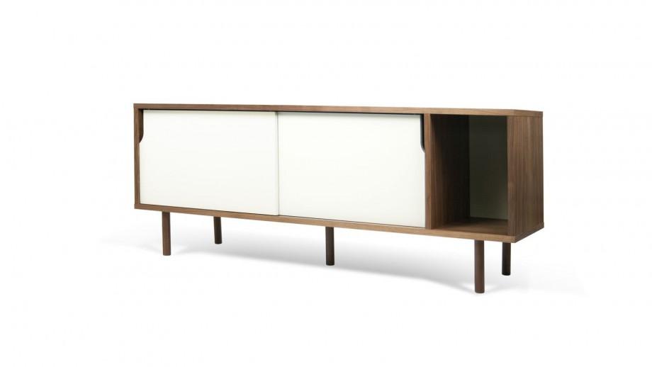 Buffet bas 165cm en contreplaqué foncé 2 portes coulissantes blanches - Collection Dann - Temahome