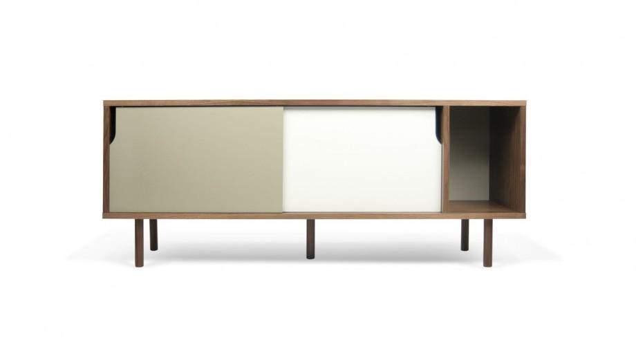 Buffet bas 165cm en contreplaqué foncé 2 portes gris et blanc - Collection Dann - Temahome