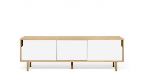 Buffet bas en bois 201cm 2 portes 2 tiroirs blancs piètement en bois - Collection Dann - Temahome
