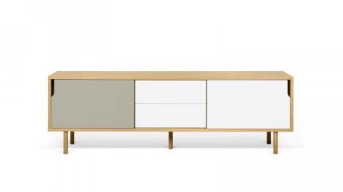 Buffet bas en bois 201cm 2 portes gris et blanc 2 tiroirs - Collection Dann - Temahome