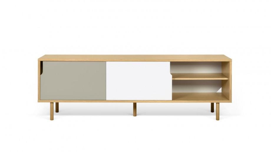 Buffet bas en contreplaqué 201cm 2 portes gris et blanc 2 tiroirs - Collection Dann - Temahome