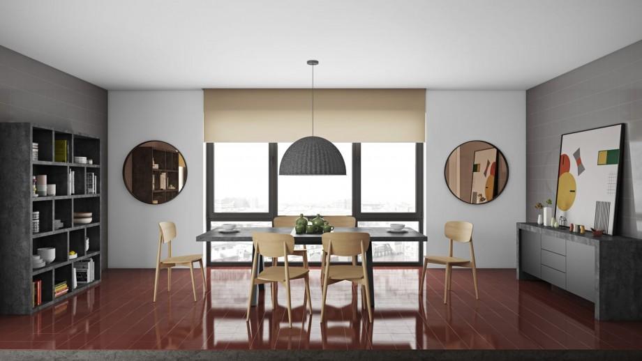 Table à manger extensible en béton piètement noir - Collection Apex - Temahome