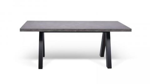 Table à manger extensible effet béton piètement noir - Collection Apex - Temahome