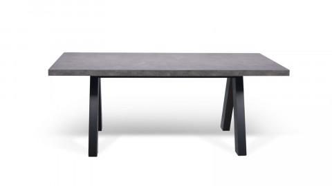 Table à manger en béton piètement noir - Collection Apex - Temahome