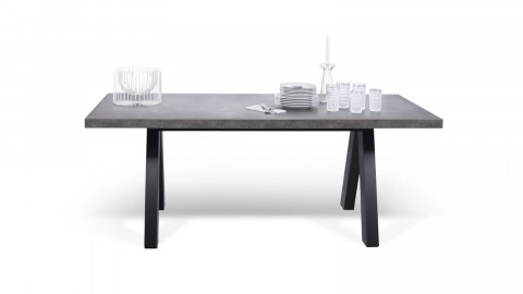 Table à manger en béton piètement noir - Collection Apex - Temahome