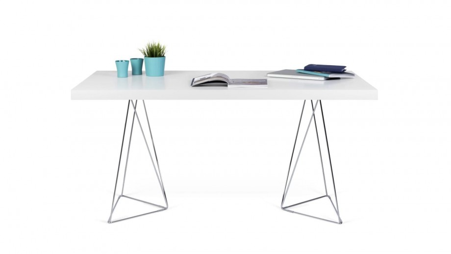 Bureau 160cm en contreplaqué blanc piètement polygonal en chrome - Collection Multi - Temahome