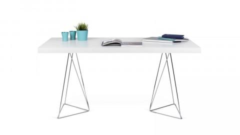 Bureau 160cm en contreplaqué blanc piètement polygonal en chrome - Collection Multi - Temahome