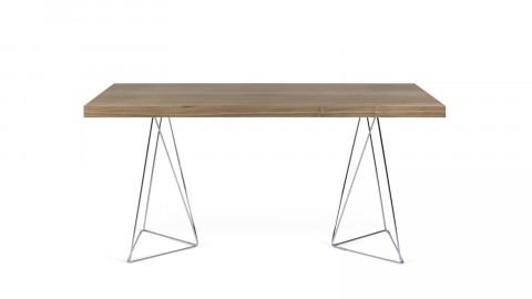 Bureau 160cm en bois foncé piètement polygonal en chrome - Collection Multi - Temahome