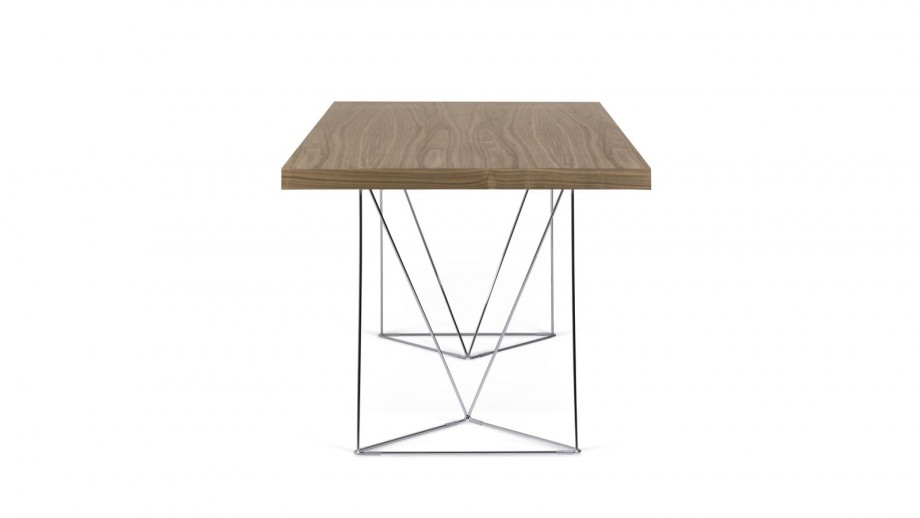 Bureau 160cm en contreplaqué foncé piètement polygonal en chrome - Collection Multi - Temahome