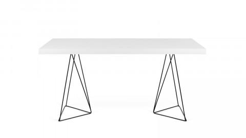 Bureau 160cm en bois blanc piètement polygonal en métal noir - Collection Multi - Temahome
