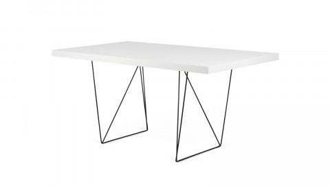 Bureau 160cm en contreplaqué blanc piètement polygonal en métal noir - Collection Multi - Temahome