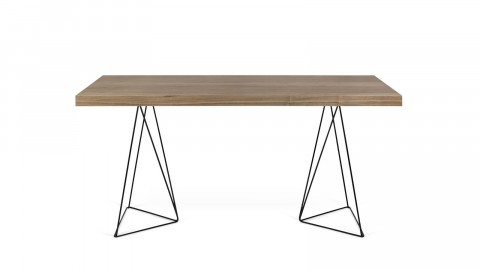 Bureau 160cm en bois foncé piètement polygonal en métal noir - Collection Multi - Temahome