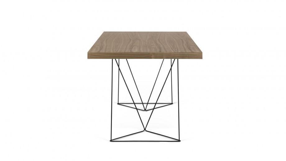 Bureau 160cm en contreplaqué foncé piètement polygonal en métal noir - Collection Multi - Temahome