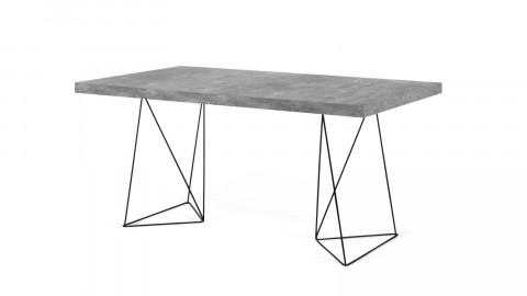 Bureau 160cm en béton piètement polygonal en métal noir - Collection Multi - Temahome