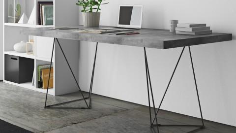 Bureau 160cm effet béton piètement polygonal en métal noir - Collection Multi - Temahome