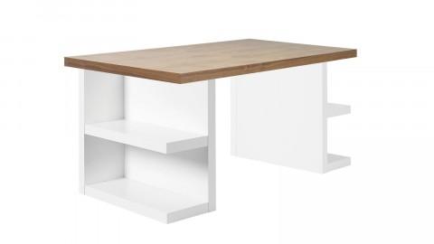 Bureau 160cm plateau en bois foncé piètement blanc avec rangements latéraux - Collection Multi - Temahome