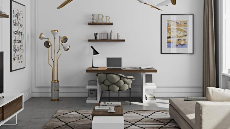 Bureau 160cm plateau en contreplaqué foncé piètement blanc avec rangements latéraux - Collection Multi - Temahome